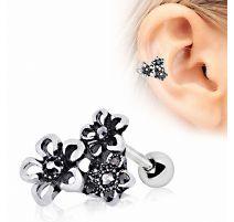 Piercing cartilage hélix triple fleur