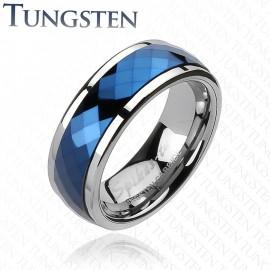 Bague en Tungstène Multi-facettes Prisme Bleu