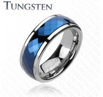 Bague en Tungstène Multi-facettes Prisme Bleu - Bague homme et femme en tungstene
