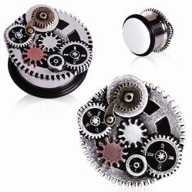 Piercing plug steampunk rouages
