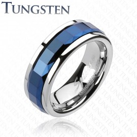 Bague Tungstène Multi-facettes Carré Bleu
