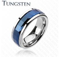 Bague Tungstène Multi-facettes Carré Bleu - Bague homme et femme en tungstene