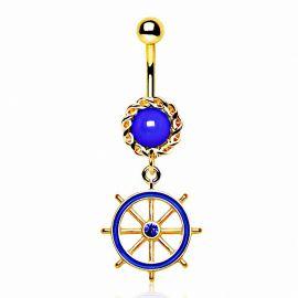 Piercing nombril plaqué or roue de navire bleue