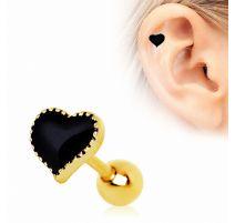 Piercing cartilage plaqué or coeur noir