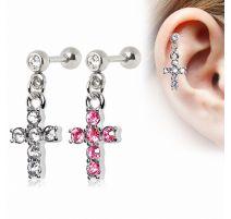 Piercing cartilage pendentif croix