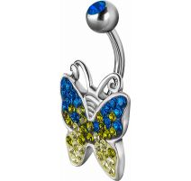 Piercing nombril Crystal Evolution Swarovski Papillon Titane G23