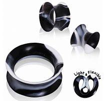 Piercing plug silicone noir marbré