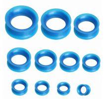 Piercing plug silicone métallique bleu