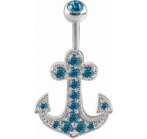 Piercing nombril Crystal Evolution Swarovski Ancre marine Titane G23
