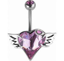 Piercing nombril Crystal Evolution Swarovski coeur ailé Titane G23