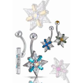 Piercing nombril Crystal Evolution Swarovski flocon de neige Titane G23