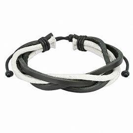 Bracelet hommes en cuir noir et blanc
