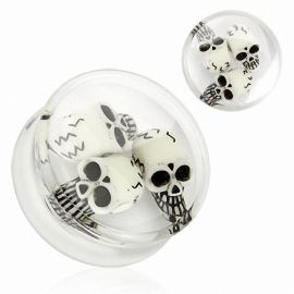 Piercing plug acrylique trois skulls