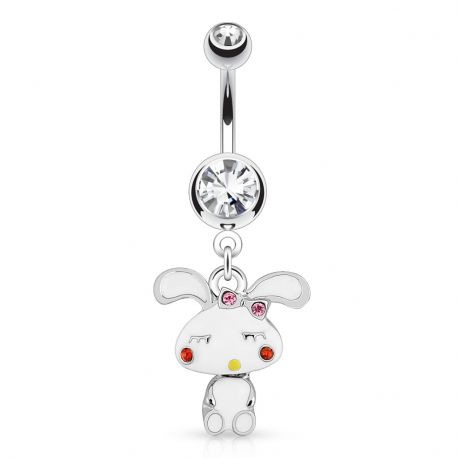 Piercing nombril lapin strass