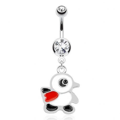 Piercing nombril pingouin écharpe rouge