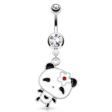 Piercing nombril panda fleur