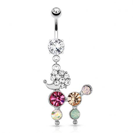 Piercing nombril caniche strass