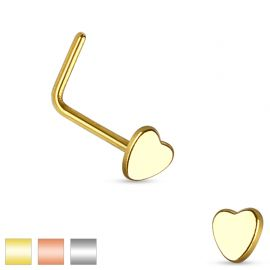 Piercing nez tige en L coeur