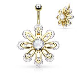 Piercing nombril fleur à 8 pétales plaqué or