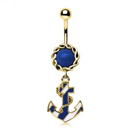 Piercing nombril plaqué or ancre marine bicolore