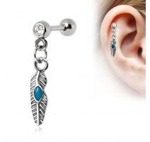Piercing cartilage hélix plume tribale