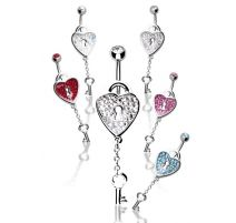 Piercing nombril Crystal Evolution Swarovski Cadenas Coeur