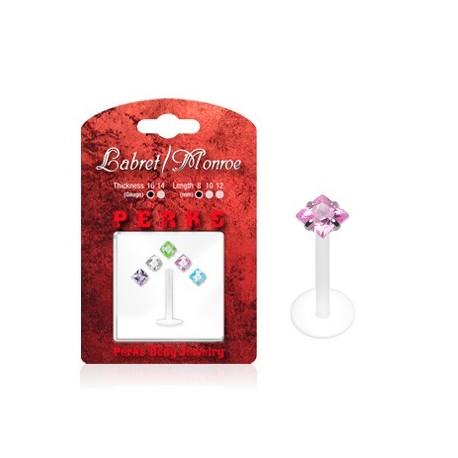 Pack Piercing Labret Bioflex Pierre Carrée - Bijou Piercing Labret