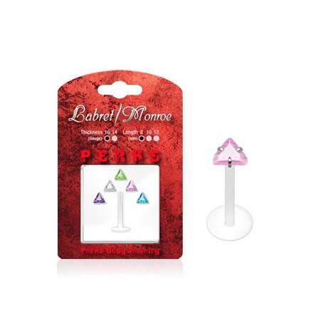 Pack Piercing Labret Bioflex Pierre Triangle - Bijou Piercing Labret