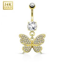 Piercing nombril Or jaune 14 carats Papillon