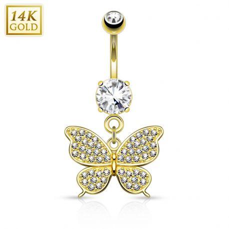 Piercing nombril Or jaune 14 carats Papillon