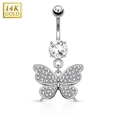 Piercing nombril Or blanc 14 carats Papillon