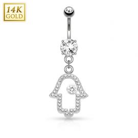 Piercing nombril Or blanc 14 carats Main de fatma