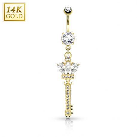 Piercing nombril Or jaune 14 carats Clef et couronne