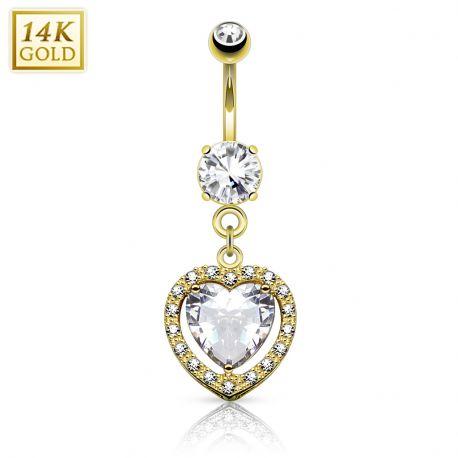 Piercing nombril Or jaune 14 carats coeur solitaire