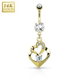 Piercing nombril Or jaune 14 carats double coeur