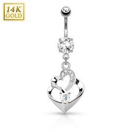 Piercing nombril Or blanc 14 carats double coeur