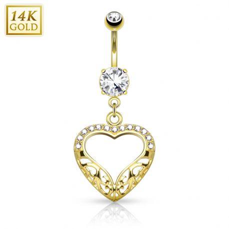 Piercing nombril Or jaune 14 carats coeur filigrane