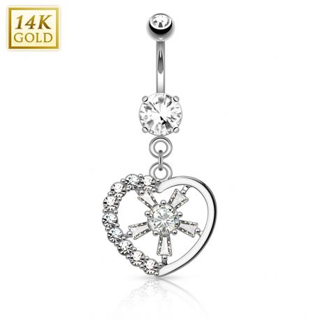 Piercing nombril Or blanc 14 carats coeur rayons