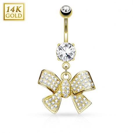 Piercing nombril Or jaune 14 carats noeud de ruban