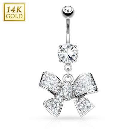 Piercing nombril Or blanc 14 carats noeud de ruban