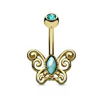 Piercing nombril papillon filigrane plaqué or