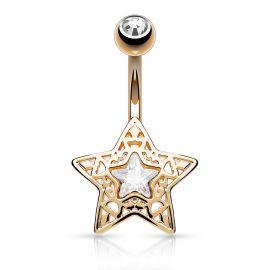 Piercing nombril étoile filigrane or rose