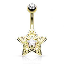 Piercing nombril étoile filigrane plaqué or