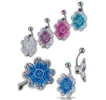 Piercing nombril Crystal Evolution Swarovski fleur de trèfle