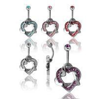 Piercing nombril Crystal Evolution Swarovski Coeurs entrelacés