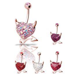 Piercing nombril Crystal Evolution Swarovski Or Rose Coeur Endiablé