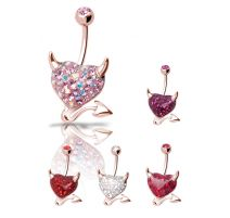 Piercing nombril Crystal Evolution Swarovski Or Rose Coeur Endiablé