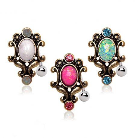 Piercing nombril inversé antique opale