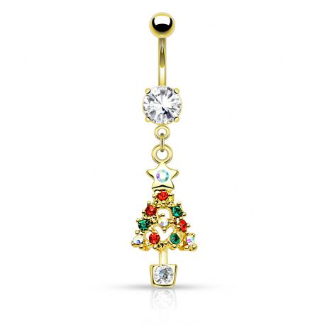 Piercing nombril de Noël plaqué or