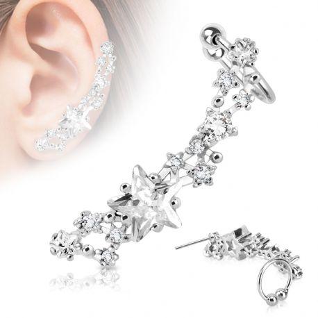 Piercing d'oreille gemmes étoiles